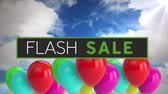 kelime : Animation of the words Flash Sale in white and green letters on a black banner with colourful balloons floating on blue sky with clouds
