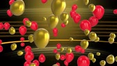 boş zaman : Animation of red and gold balloons floating on a striped background Stok Video