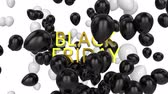 zeichentrick : Animation of the words Black Friday in yellow letters with black and white balloons on a white background