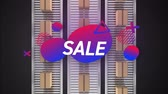 doos : Animation of the word Sale in white letters with abstract shapes and parcels on conveyor belts