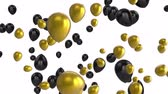 резервный : Animation of black and gold balloons floating on a white background Стоковые видеозаписи