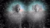 geny : Animation of two human bodies formed from grey particles with binary coding in the background