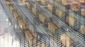 data processing : Animation of rows of cardboard boxes moving on conveyor belts with data processing in the foreground