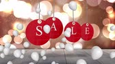 zeichentrick : Animation of the word Sale in single white letters on hanging red tags with white balloons floating with defocused lights in the background Stock Footage