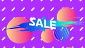 zeichentrick : Animation of the word Sale in white letters on an blue paint splat and abstract shapes with orange and pink balls and white lines on a purple background Stock Footage