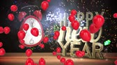 zeichentrick : Animation of the words Happy New Year, red balloons and alarm clock showing midnight with colourful confetti falling Stock Footage