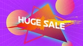 zeichentrick : Animation of the words Huge Sale in white letters on an orange to yellow paint splat and abstract shapes, pink to yellow balls  on a purple background Stock Footage