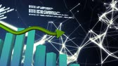 ascending : Animation of a 3D green block graph and a yellow arrow pointing upward with network of connections and data processing in the background Stock Footage