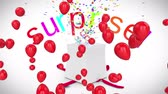 резервный : Animation of present opening with the word Surprise in red and pink letters and colourful confetti flying out, red balloons floating on a white background Стоковые видеозаписи