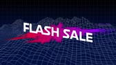 kelime : Animation of the words Flash Sale in white letters on an pink to purple paint splat and abstract shapes on a rotating background Stok Video