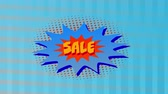 kelime : Animation of the word Sale in yellow letters on a red and blue explosion with movingï¿'ï¾ graphicï¿'ï¾ shapes on a blue striped background Stok Video