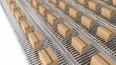 karton : Animation of rows of cardboard boxes moving on conveyor belts Stock mozgókép