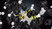 kasım : Animation of the words Black Friday in yellow letters with present, fireworks and black and white balloons on a black background