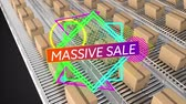 doos : Animation of the words Massive Sale in white letters on a purple to orange banner with abstract shapes and cardboard boxes moving on conveyor belts