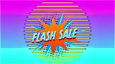 Animation of the words Flash Sale in blue letters on an orange explosion with movingï¿'ï¾ graphicï¿'ï¾ shapes on a yellow background