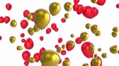 léggömb : Animation of red and gold balloons floating on a white background Stock mozgókép