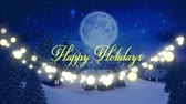 неон : Animation of the words Happy Holidays written in yellow letters with string of glowing fairy lights with silhouette of Santa Claus in sleigh pulled by reindeers in the countryside