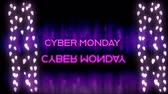 축소 : Animation of the words Cyber Monday in pink letters with reflection and strings of glowing fairy lights on purple background