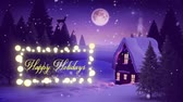 oslava : Animation of a black silhouette of Santa Claus in sleigh being pulled by reindeers over winter scenery at night with the words Happy Holidays in yellow letters in a glowing frame
