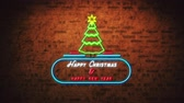 zeichentrick : Animation of flickering words Happy Christmas & Happy New Year neon sign in red and white in a blue banner and Christmas tree on brick wall Stock Footage