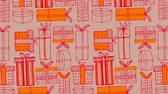 포장 : Animation of Christmas pattern with gifts, in red and orange