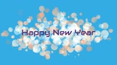 明けましておめでとうございます : Animation of the words Happy New Year with white spots of light on a blue background 動画素材