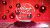 gwiazda : Animation of the words Happy Holidays A Seasonal Greeting in white letters on a snow globe, pink shooting star  and Christmas baubles on red background