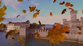kasım : Animation of colourful leaves falling in autumn with a castle in the background Stok Video