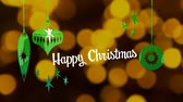 明けましておめでとうございます : Animation of the words Happy Christmas written in white letters with Christmas baubles drawn in green, in front of defocused yellow lights