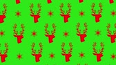 carta da pacco : Animation of red Christmas pattern with stars and reindeers on green screen