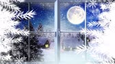 rena : Animation of the words Merry Christmas in blue letters with silhouette of Santa Claus in sleigh pulled by reindeers in the countryside seen through the window