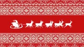 oslava : Animation of a white silhouette of Santa Claus in sleigh being pulled by reindeers on a red background with patterned borders Dostupné videozáznamy