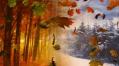 kasım : Animation of colourful leaves falling with autumnal and winter scenery in the background