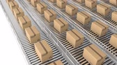 ürünleri : Animation of rows of cardboard boxes moving on conveyor belts Stok Video