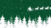 rena : Animation of a white silhouette of Santa Claus in sleigh being pulled by reindeers on a green background with snow falling and trees