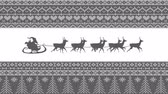 Animation of a grey silhouette of Santa Claus in sleigh being pulled by reindeers on a white background with patterned borders Stock mozgókép