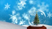 snow globe : Animation of a decorated Christmas tree in a snow globe, with falling snowflakes against snow covered hills and a blue background