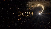 フリッカー : Animation of number 2021 written in gold over glowing moving lights and shooting star on black background 動画素材