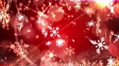 フリッカー : Animation of snowflakes falling with spots of light over red background