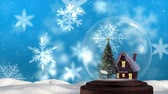 Animation of a snow covered cottage and a decorated Christmas tree in a snow globe, with floating white snowflakes and falling snow against a blue background
