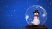 zeichentrick : Animation of a waving, blinking snowman in a snow globe, with falling snow on a blue background