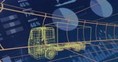 prototype : Animation of 3d technical drawing of a truck in yellow, with moving grid and data processing in the background 4k