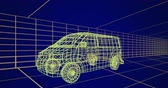 tornitura : Animation of 3d technical drawing of a van in yellow, with moving grid in the background 4k Filmati Stock