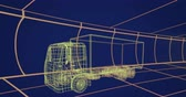 zeichentrick : Animation of 3d technical drawing of a truck in yellow, with moving grid in the background 4k Stock Footage
