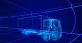 차 : Animation of 3d technical drawing of a truck in blue, with moving grid in the background 4k