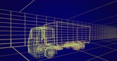 tornitura : Animation of 3d technical drawing of a truck in yellow, with moving grid in the background 4k Filmati Stock