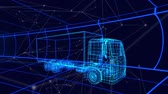prototype : Animation of 3d technical drawing of a truck in blue, with moving grid in the background