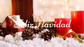 koni : Animation of the words Feliz Navidad written in white with Christmas decorations in the background Stok Video