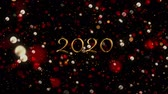 フリッカー : Animation of number 2020 written in gold over glowing moving lights on black background