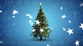 gwiazda : Animation of rotating Christmas tree and falling stars on blue background